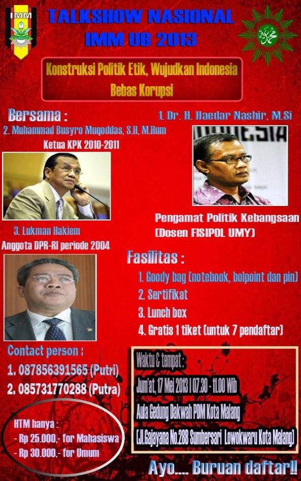 Talkshow Nasional IMM UB 2013